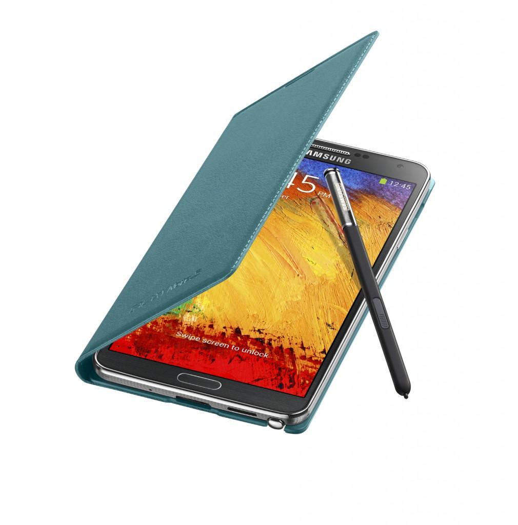Galaxy Note3 FlipCover_004_Open Pen_Mint Blue