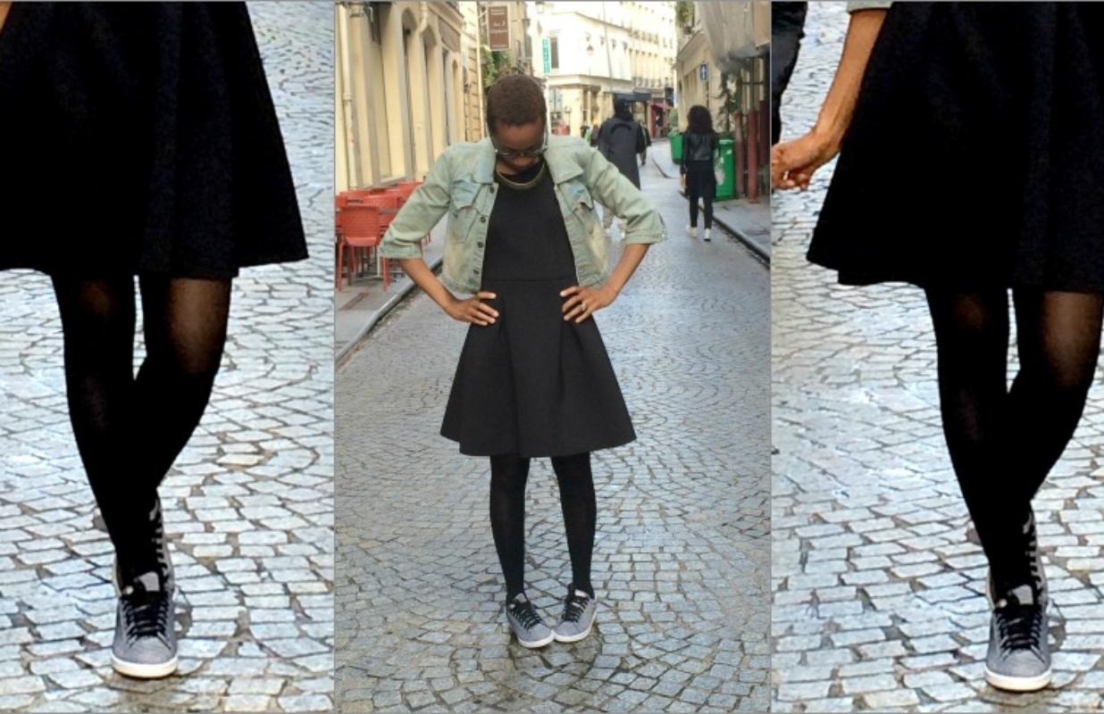 Adidas Stan Smith weave Black & White (dans le look du jour